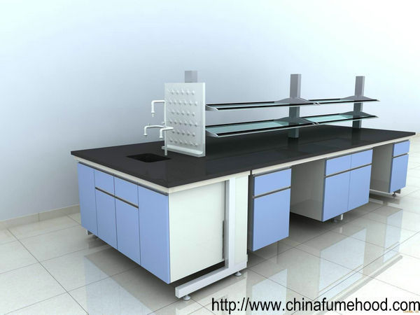 Steel Frame Laboratory Wall Bench Movable Back Board With Safety Eyewash
