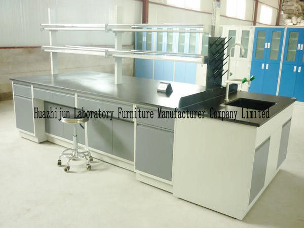 Cold Rolled Steel Lab Furniture , Island Table For Laboratory With Under Storage
