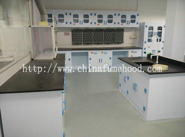 8mm Worktop Chemistry Lab Furniture , PP Material Island Table For Laboratory